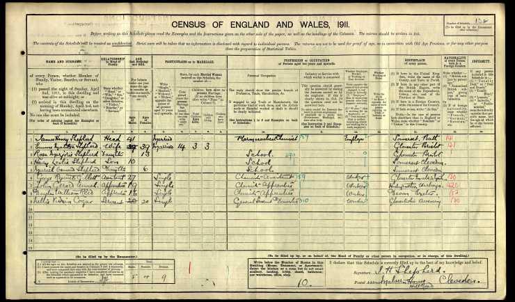 1911-John Gerard Annal census Clevedon RG14-14803 s.132