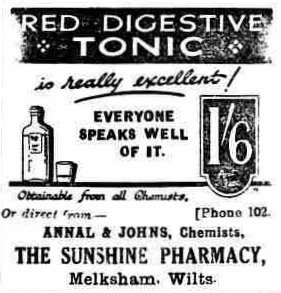 1928-Advert for Annal & Johns Chemist, Melksham The Wiltshire Times 28 April 1928 p.4 col.c