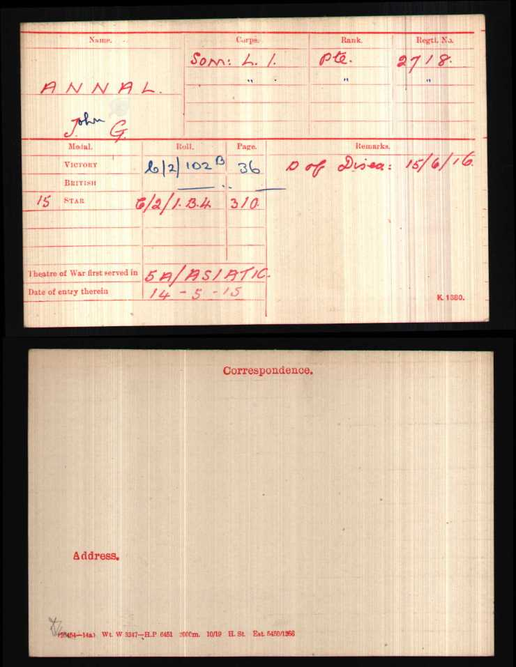 John G Annal Medal Index Card First World War WO 372-1-98316