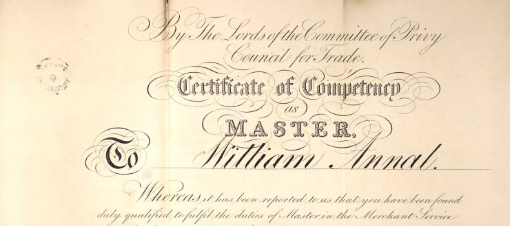 1851-William Annal master's certificate - National Maritime Museum (1)